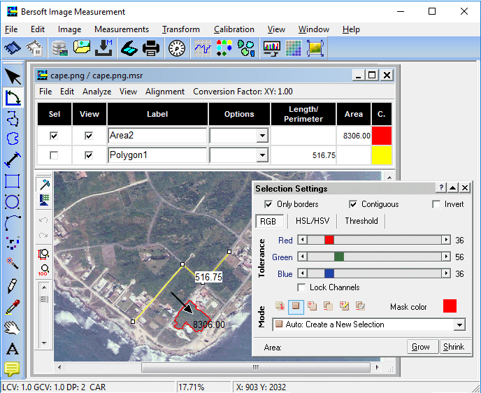 Click to view Bersoft Image Measurement 8.2 screenshot